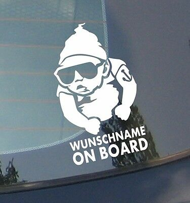 Wunschname on board - Tätowierung Sticker Kind an Bord Aufkleber Name Baby Auto