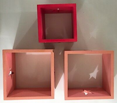 Lot Of 3 Hanging Floating Shelve Square Pink Fuchsia Glittered Wall Wood