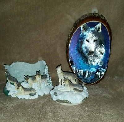 LOT of 2 - Wolf Wolves Decor - Candle holder & Lid top / Wood picture plaque