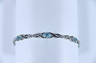 Sterling Silver Blue Topaz Bracelet 7 Natural Gems