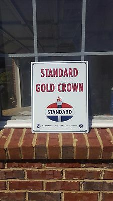 "Standard ""Gold Crown"" Gasoline porcelain pump plate gas station collectible sign"