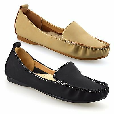 9996c8b22399 Ladies Womens New Slip On Leather Flat Casual Moccasin Loafers Pumps Shoes  Size