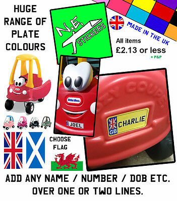 PERSONALISED FRONT+BACK Number Plate fits Little Tikes Cozy Coupe car ride on