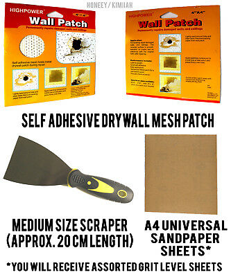 Self Adhesive Stick Mesh Patch Repair Wall Ceiling Plaster Scraper A4 Sandpaper