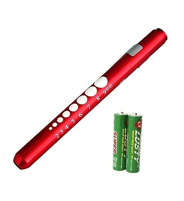 RED Reusable NURSE Aluminum Penlight Pocket Medical LED Pupil Gauge+batteries