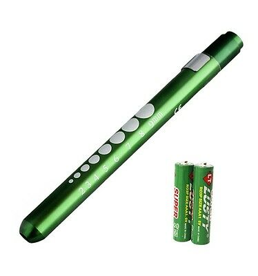 GREEN Reusable NURSE Aluminum Penlight Pocket Medical LED Pupil Gauge+batteries