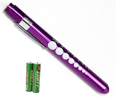 PURPLE Reusable NURSE Aluminum Penlight Pocket Medical LED Pupil Gauge+batteries