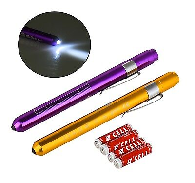 2 Reusable PURPLE GOLD Aluminum Penlight Pocket Medical LED Pupil Gauge+BATTERY