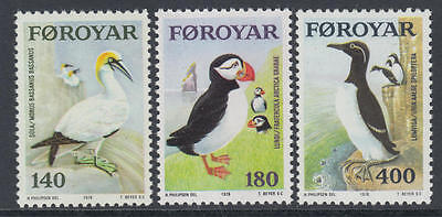 XG-N183 BIRDS - Faroe, 1978 Puffins, 3 Values MNH Set