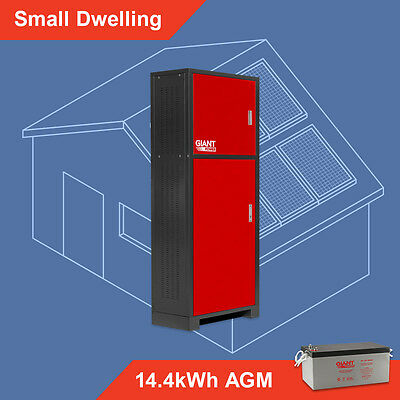 Off Grid Solar System Kit - Small Dwelling 14.4kWh AGM Batteries Stand Alone