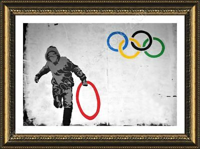 Olympic Rings London by Banksy   Framed canvas   Wall art HD print giclee