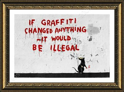 If Graffitti Changed Anything by Banksy | Framed canvas | Wall art painting