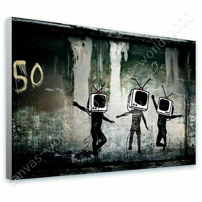 Tv Heads by Banksy | Ready to hang canvas | Wall art oil painting giclee HD