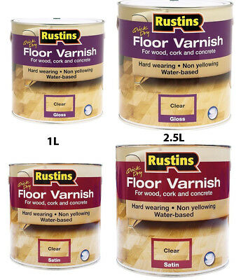 Rustins Quick Dry Acrylic Floor Varnish Gloss & Satin For Wood Cork in 1L & 2.5L
