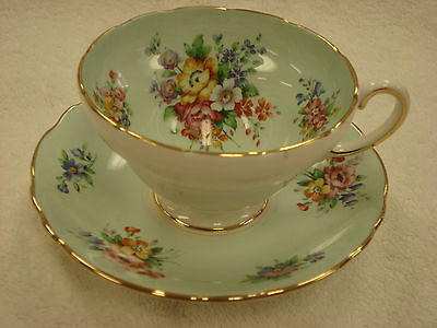 Crown Staffordshire TURQUOISE Floral Tea Cup & Saucer Made In England TR8