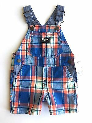 Oshkosh Bgosh Boy 9 Month shorts overall denim plaid blue orange suspenders bibs