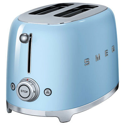 NEW Smeg 50s Retro Style Pastel Blue Two-Slice Toaster