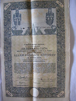 1912 Hungary(Magyar) Coupon Bond Issue-6%int. 100 Crowns Coupon-Nice