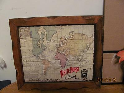 Rare Vintage White Horse Blended Scotch Whisky Map Bar Sign-Guc-Man Cave