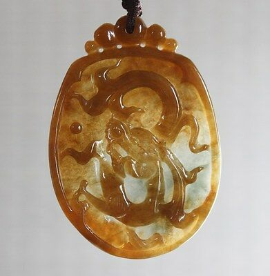 Certified Natural (A) Untreated Icy Honey Yellow Jadeite JADE Dragon Pendant