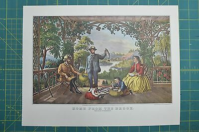 """1952 Vintage Currier /& Ives /""""THE TROUT STREAM/"""" FISHING LOVELY COLOR Lithograph"""