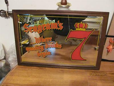 Rare Vintage Seagrams 7 Crown Blended Whiskey Mirror Bar Sign-Vguc-Man Cave