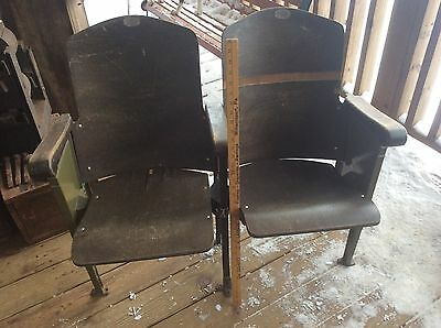 Vintage Antique Folding Chairs Attached, Auditorium,Theater, Green Ornate Design