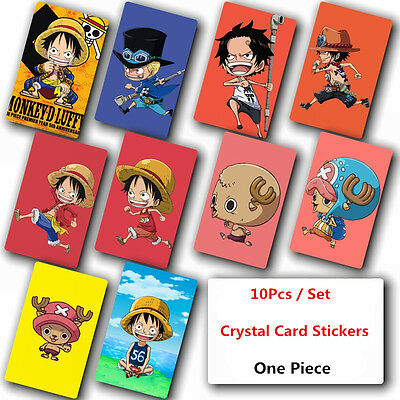10Pcs/Set One Piece Crystal Card Stickers Japanese Anime Poster Photo For Gift