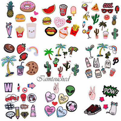 8PCS Embroidered Sew Iron On Patches Badge Hat Bag Fabric Applique Clothes Craft