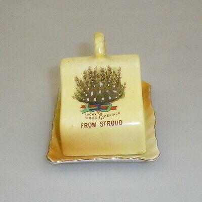 Vintage Hand Painted English Souvenir Miniature Cheese Dish Stroud