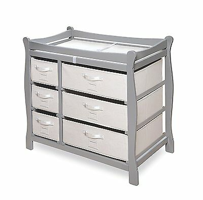 Badger Basket Sleigh Style Changing Table with Six Baskets, Gray