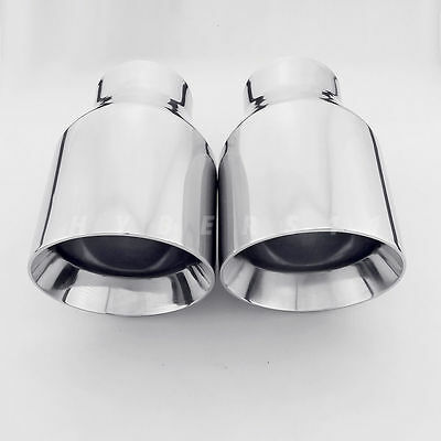 "10/"" Long JST027E2 PAIR 2.5/"" Black Chrome Rectangle Exhaust Tips 2 1//2/"" Inlet"