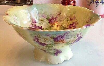 Antique Silesia Footed Porcelain Centerpiece Bowl, Germany