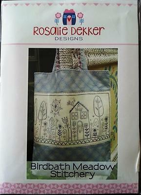 Birdbath Meadow Embroidery / Stitchery Bag Pattern Rosalie Dekker Design