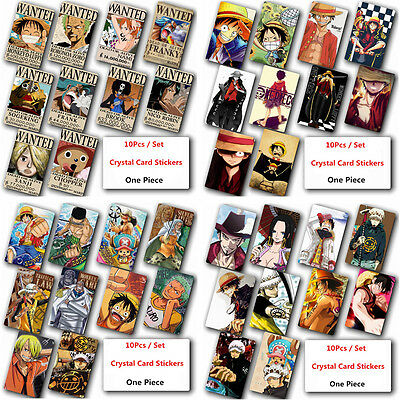 10 Pcs Home Decor Japanese One Piece Card Stickers Cosplay Anime Wall Poster