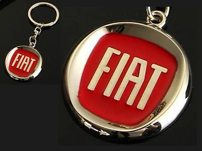 FIAT Red Logo Punto Panda 500 Bravo Metal Keyring key chain with Gift Pouch