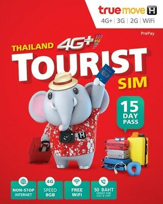 Thailand Sim Card Prepaid 6 GB Data LTE + 100 Baht internat. Call + Text Credit