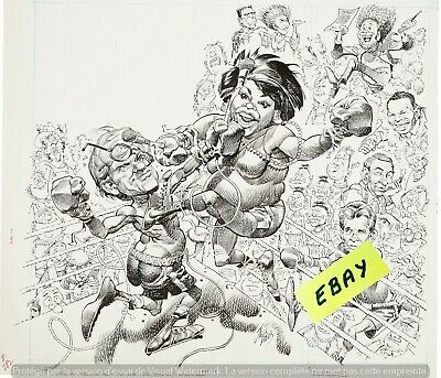 OPRAH WINFREY vs PHIL DONAHUE IN THE BOXING RING  POSTER- ART JACK  DAVIS -$6.99