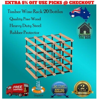 20 Bottle Timber Wine Rack Pine Wood Complete Wine Storage Solution Free Post