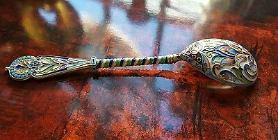 Antique Russian silver 88 shaded cloisonne champleve enamel spoon Moscow  artel