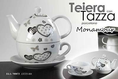Teiera Con Tazza+Piatto In Porcellana Decorata Monamour Ela-700873