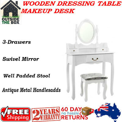 Brand New 3 Drawers Luxury Mirror Wooden Dressing Table Makeup Desk with Stool