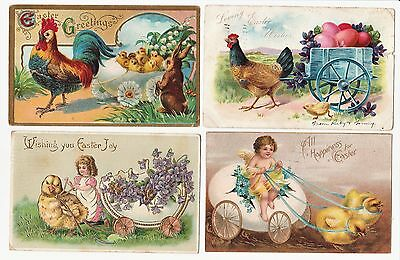 SUPER Postcard LOT of 10 - Easter Chicks Bunnies Rooster Pulling Carts 1907 -
