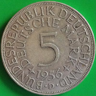 1956 D Germany Silver 5 Mark Coin