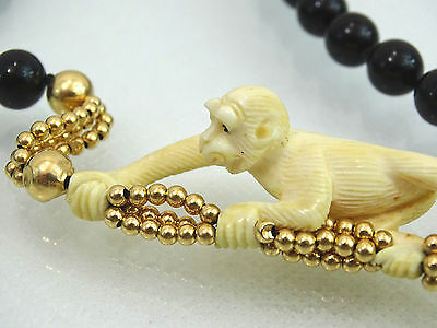 Hand Carved Monkey Neclace Black Onyx / 14K Gold Figural Magnificent Quality