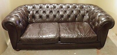 Vintage Nicely Aged Brown Leather Chesterfield sofa
