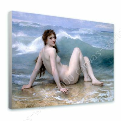 The Wave by William Bouguereau | Ready to hang canvas | Wall art paint picture