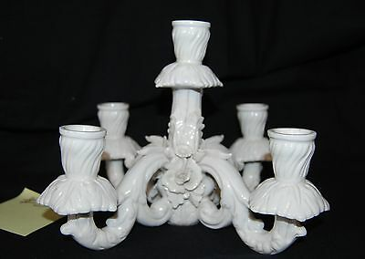 Vintage Dresden Porcelain White Floral Candelabra Top Only 5 Candle Holder #3