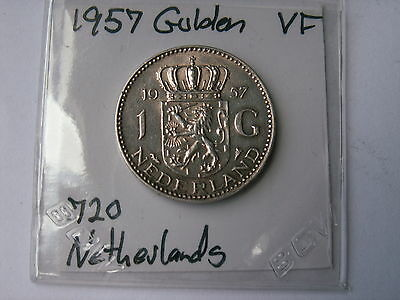 1957 Netherlands 1 Gulden  .720 Silver Coin  ( Vf, My Opinion )