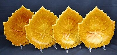 Williams Sonoma Set of 4 Leaf Plates Grape Leaves Yellow Gold Italy
